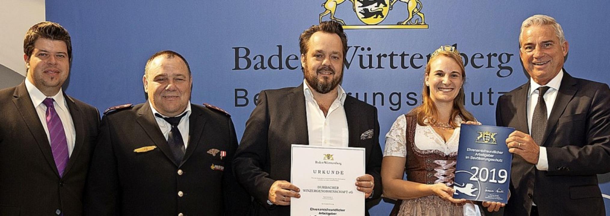 Innenminister Thomas Strobl (v.r.) bei...üller und Bürgermeister Andreas König   | Foto: LICHTGUT/Leif Piechowski