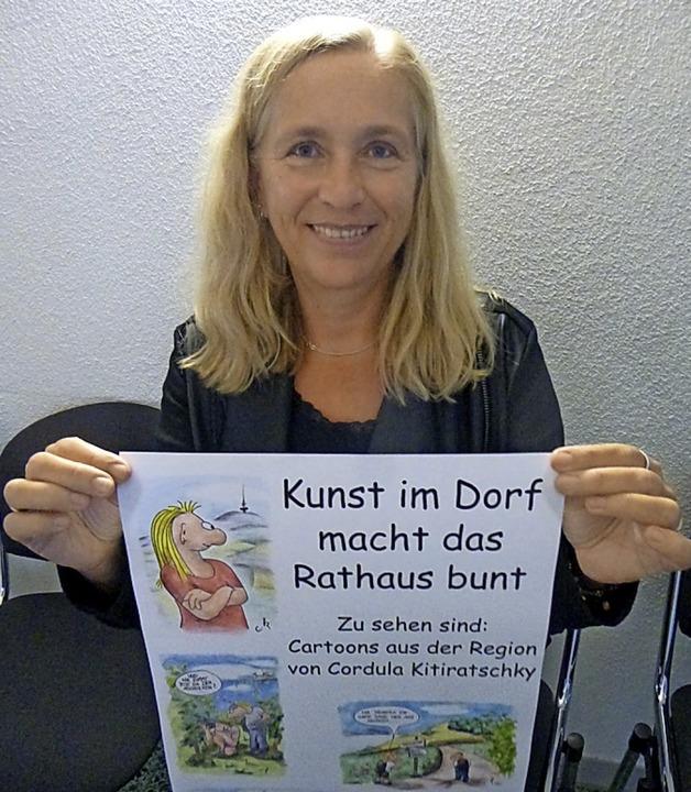 Cordula Kitiratschky stellt ihre Carto...in Hartheim aus. Zwei Beispiele unten.  | Foto: Anne Freyer