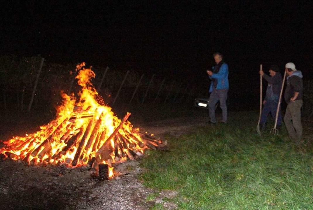 Mahnfeuer wie dieses brannten am Samst...hlreichen Weinbergen des Kaiserstuhls.  | Foto: Herbert Trogus