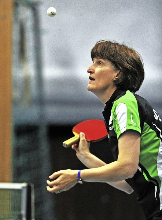 Heidi Isele vom TTC Schluchsee gewann ... siegte auch im Doppel mit Inge Volk.   | Foto: Wolfgang Scheu