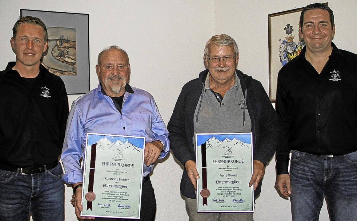 Karlheinz Bieler  und Franz Thoma (Zwe...dern der Skifreunde Burkheim ernannt.   | Foto: Herbert Trogus