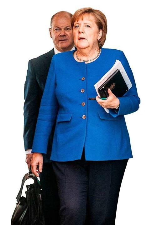 Merkel und Scholz – soll das Ges...-Kanzlerin und SPD-Vize Bestand haben?  | Foto: Michael Kappeler