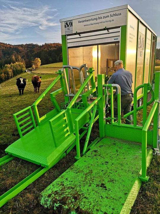 In Häg-Ehrsberg hat sich das Schlachtmobil bereits bewährt.  | Foto: Julian Liewer/SMA