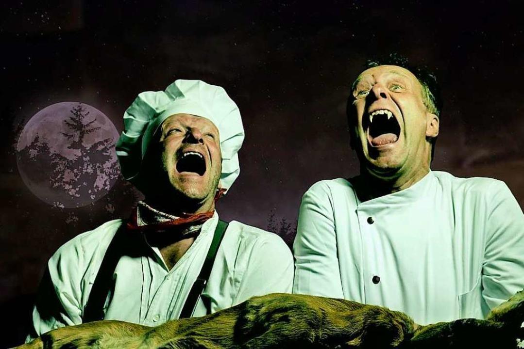 Was der Wolf gerne auf dem Speiseplan ...artin Wangler (links) und Achim Laber.  | Foto: Haus der Natur (Screenshot)