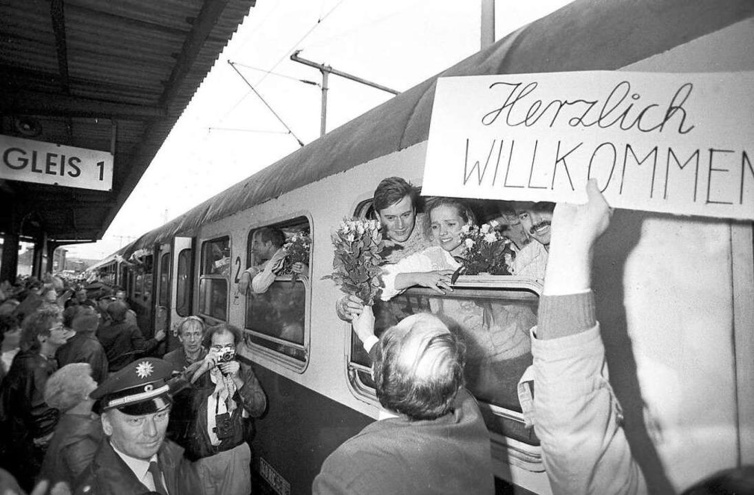 Im ersten Waggon des  Sonderzugs von  ...hau nach  Helmstedt saß Mike Böttcher.  | Foto: dpa