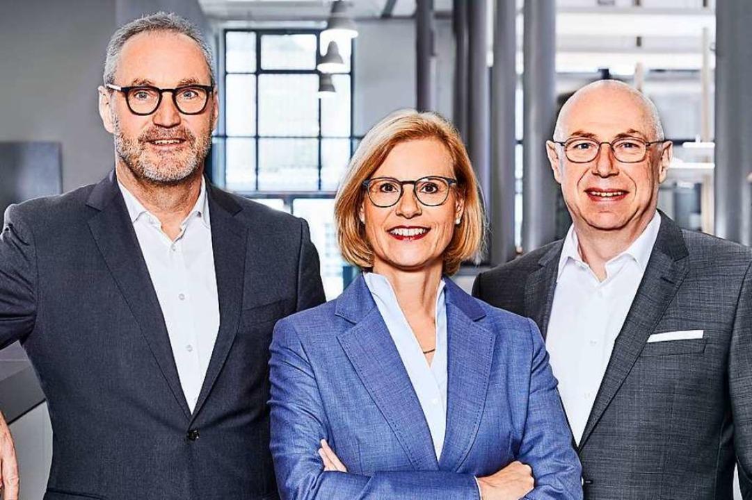 Die Ganter-Spitze (von links) : Michae...er, Bettina Zimmermann und Peter Pendt  | Foto: Ganter