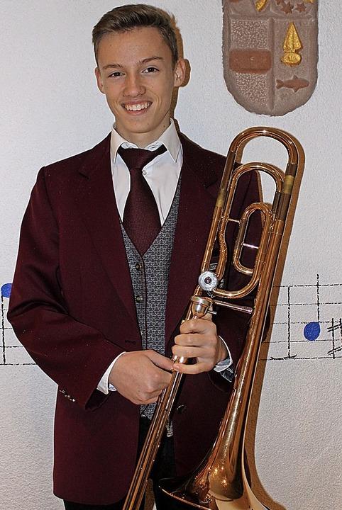 Philipp Manz vom Musikverein Oberhause...ng für das Leistungsabzeichen in Gold.  | Foto: Musikverein Oberhausen