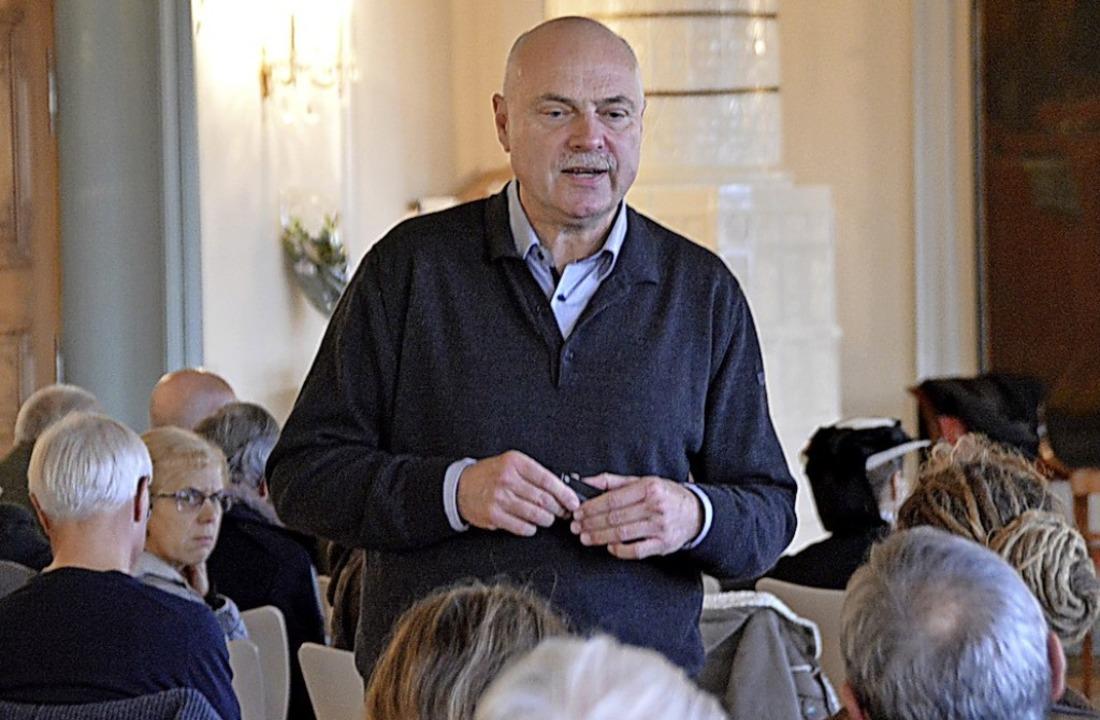 Uwe Eduard Schmidt, Professor für Fors...te, hielt in St. Peter einen Vortrag.   | Foto: Horatio Gollin