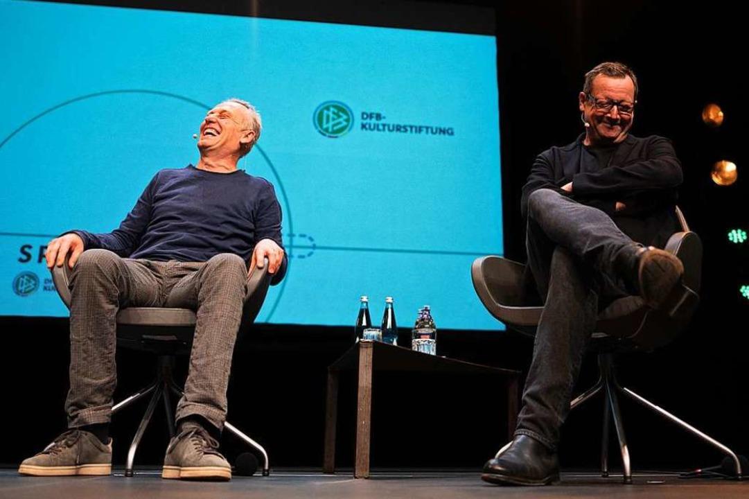 Die Veranstaltung mit Streich und Brandt war schnell ausverkauft.  | Foto: Patrick Seeger (dpa)