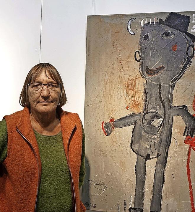 Die Malerin Alexandra Huber zeigt in d...z eigenen, humorvollen Figurenwelten.   | Foto: Roswitha Frey