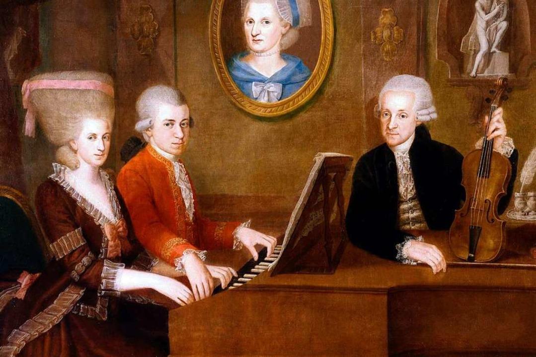Familienidyll: Leopold Mozart (r.) mit...n Johann Nepomuk della Croce, um 1780)    Foto: Von Johann Nepomuk della Croce - http:...wikimedia.org/w/index.php?curid=512784