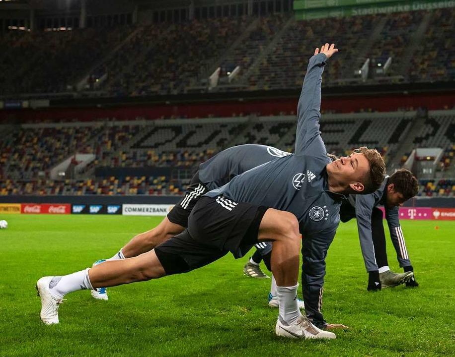 Joshua Kimmich im Training vor dem Spiel gegen Weißrussland am Samstag    Foto: Bernd Thissen (dpa)
