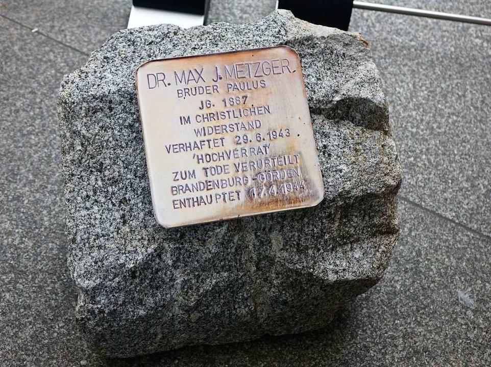 Regt zum Innehalten und Nachdenken an:...olperstein am Eingang zur Ausstellung.  | Foto: Roswitha Frey
