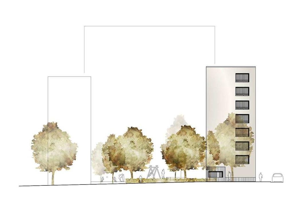 Die Simulation zeigt im Vergleich zum ... Hintergrund  Stefan-Meier-Straße 167.  | Foto: Freiburger Stadtbau GmbH