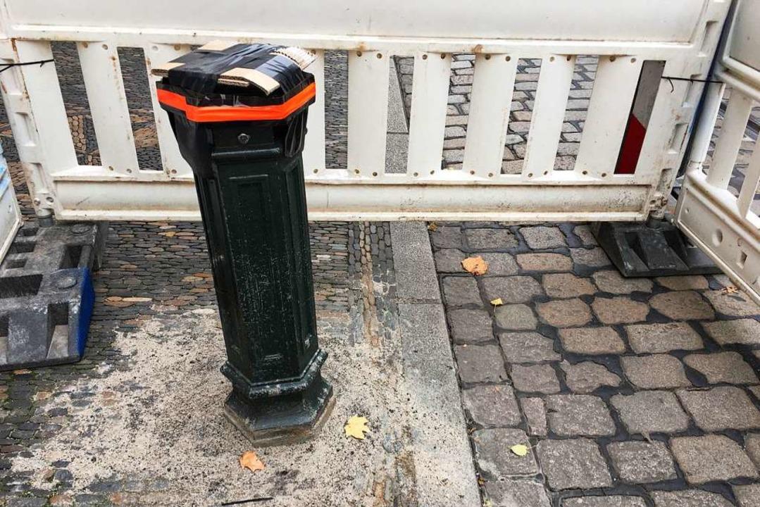 Der Stumpf der Straßenlaterne.  | Foto: Carolin Buchheim