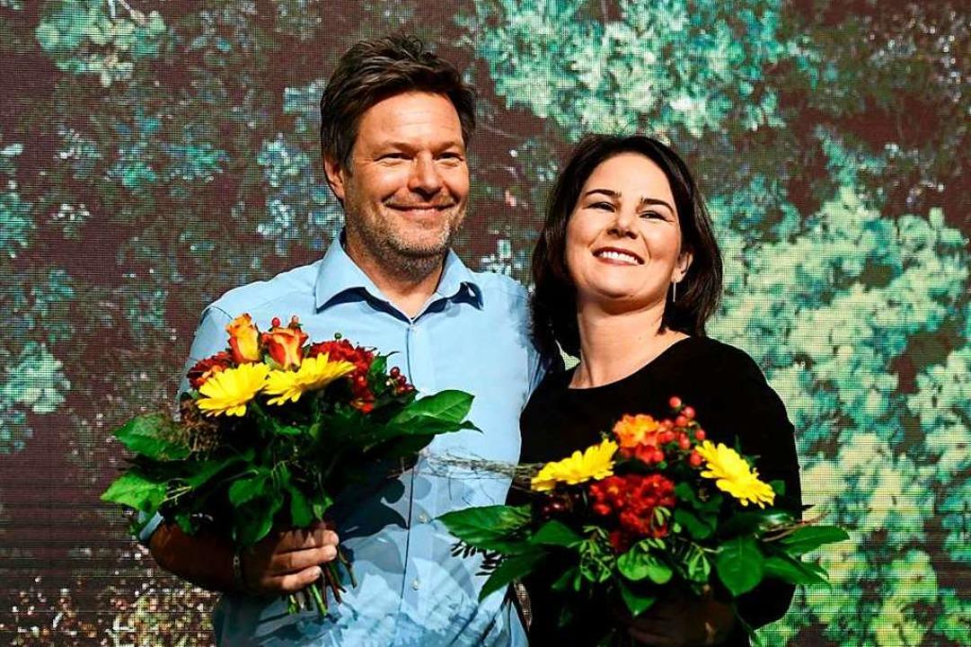 Das Spitzenduo: Robert Habeck und Annalena Baerbock.  | Foto: INA FASSBENDER (AFP)