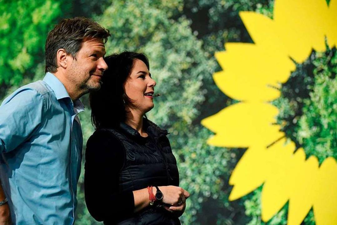 Zwei Vorsitzende mit Kanzler – beziehungsweise Kanzlerinnen-Potential.  | Foto: INA FASSBENDER (AFP)