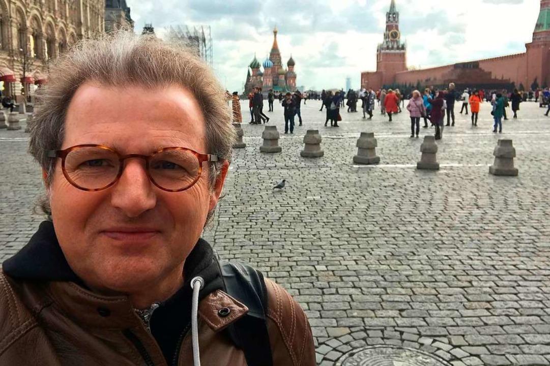 Johannes Mössinger auf dem Roten Platz in Moskau    Foto: privat