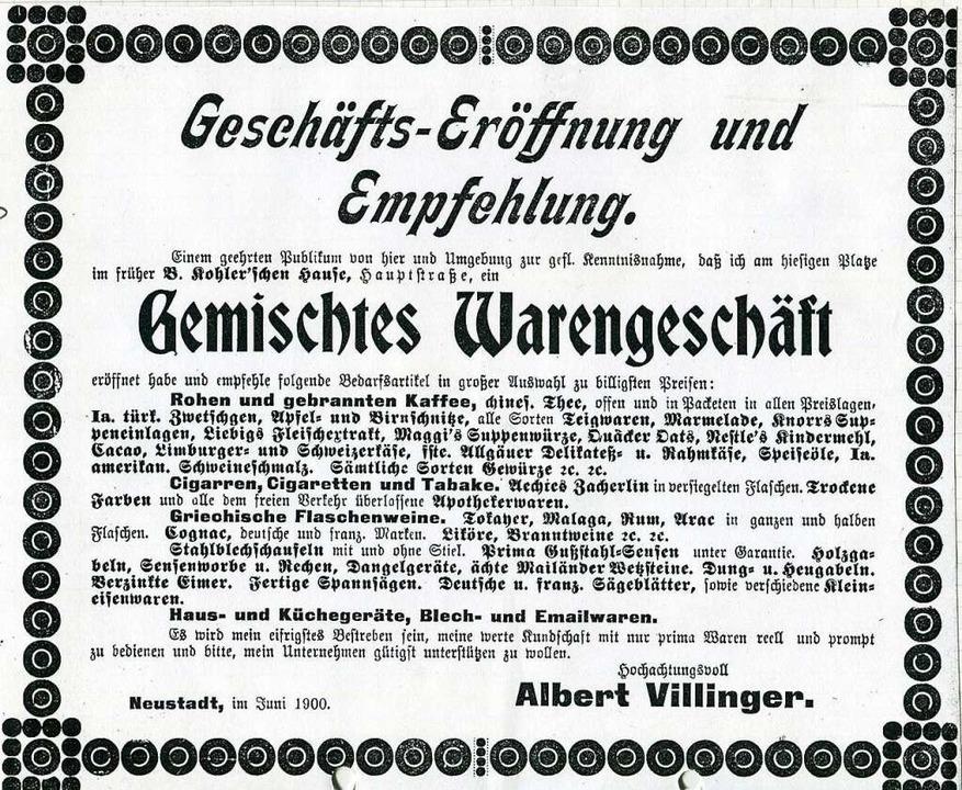 Die Anzeige zur  Geschäftseröffnung im Jahr 1900.  | Foto: Roland Weis