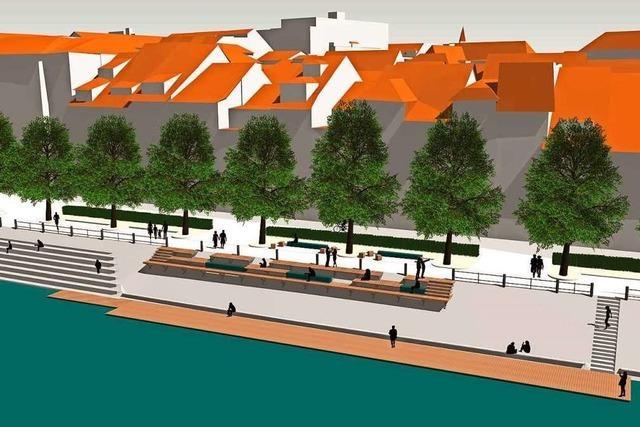 Am Rheinufer in Basel entsteht eine 43 Meter lange Holzplattform