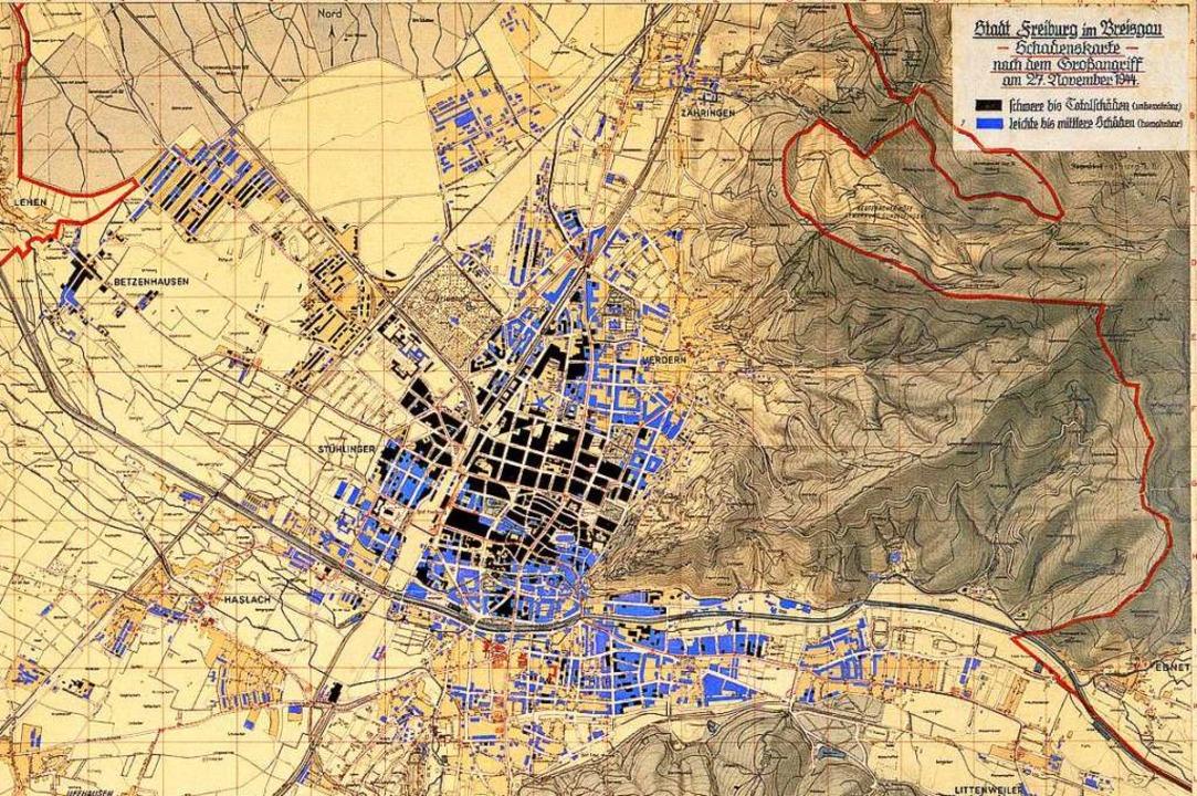 Die Schadenskarte nach dem Bombenangri...ld oberhalb von Betzenhausen zu sehen.    Foto: Stadtarchiv
