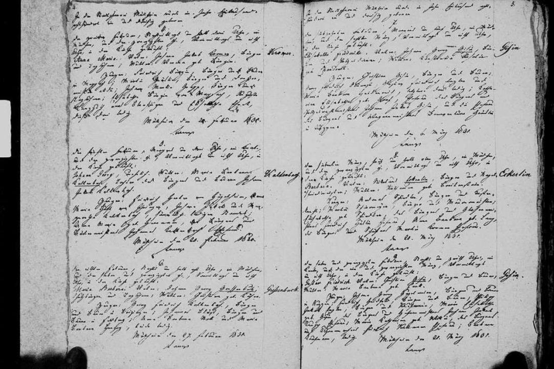 Als Quelle dienten vor allem die evang...n  Kirchenbücher  der Markgrafenstadt.  | Foto: Staatsarchiv Freiburg L 10 Nr. 3326