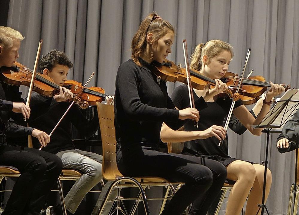 Das Streichorchester der Musikschule s...langerlebnis  im  Haus der Begegnung.     Foto: Roswitha Frey