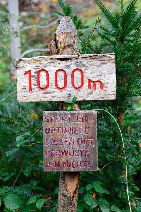Eine freundliche Mahnung aus der Vergangenheit am Trimm-Dich-Pfad im Sternwald.  | Foto: Ingo Schneider