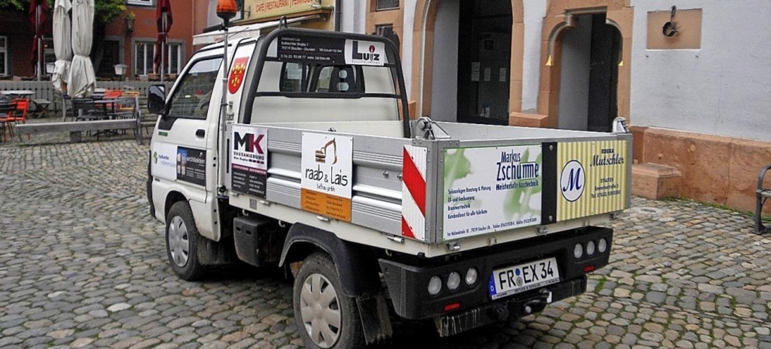 Leise, klein und ohne Abgase: das neue...das auch mit Sponsoren gekauft wurde.   | Foto: Stadtverwaltung Staufen