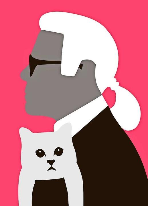 Zopf, Katze, Sonnenbrille: Das waren Lagerfelds Markenzeichen.  | Foto: Nils Oettlin
