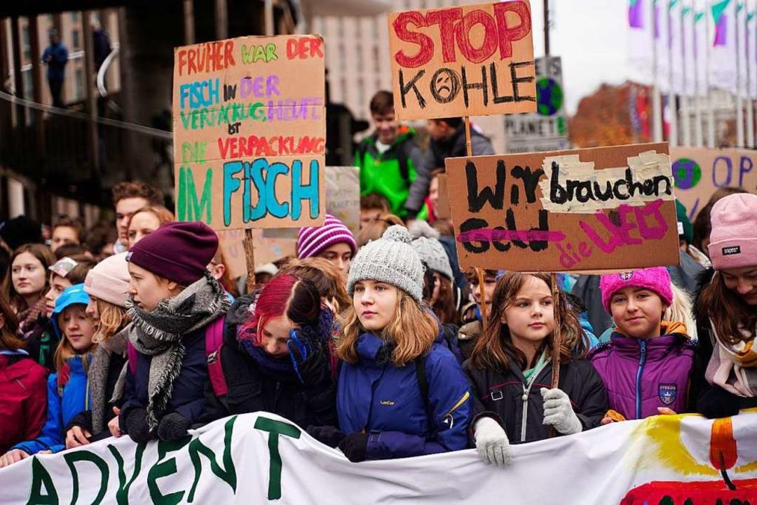 Fridays for Future zieht am 29. Novemb...treik durch die Freiburger Innenstadt.  | Foto: Stefan Hipp