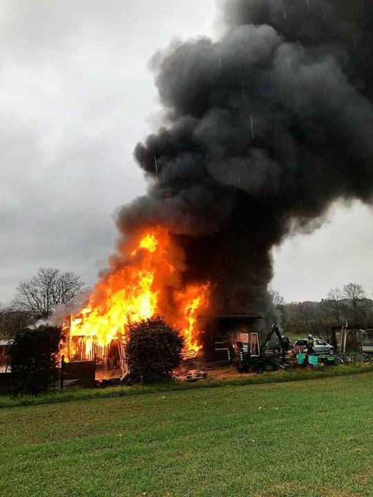 Beim Brand eines Geräteschuppens in Aesch wurde ein Mensch getötet.  | Foto: Polizei Basel-Landschaft