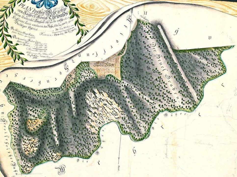 Der Plan von 1776 beinhaltet  den Staa...Gemarkungen Herrischried und Hornberg.    Foto: Richard Kaiser