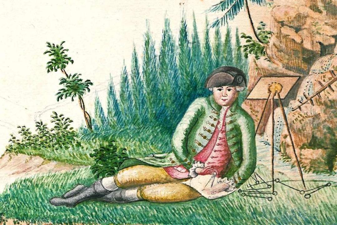 Der Kartenfertiger Tobias Neeb zeichne...es 18. Jahrhunderts, wohl sich selbst.    Foto: Richard Kaiser
