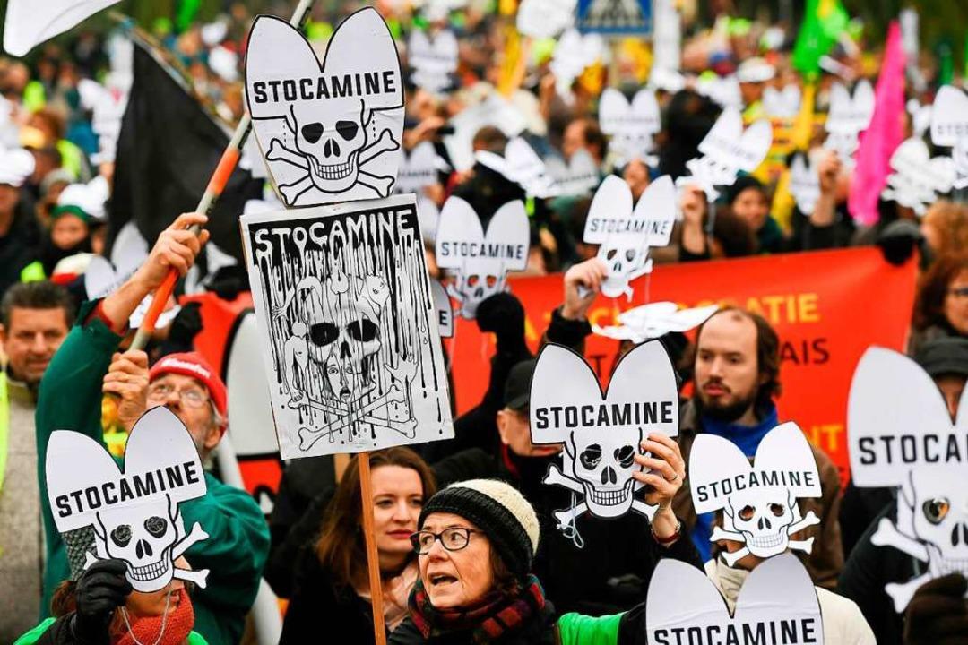 Erst vor wenigen Tagen, am 23. Novembe...ut über den Umgang mit Stocamine Luft.  | Foto: SEBASTIEN BOZON (AFP)