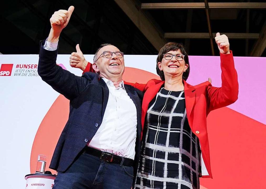 Das neue Führungsduo der SPD:  Norbert Walter-Borjans und Saskia Esken  | Foto: Kay Nietfeld (dpa)