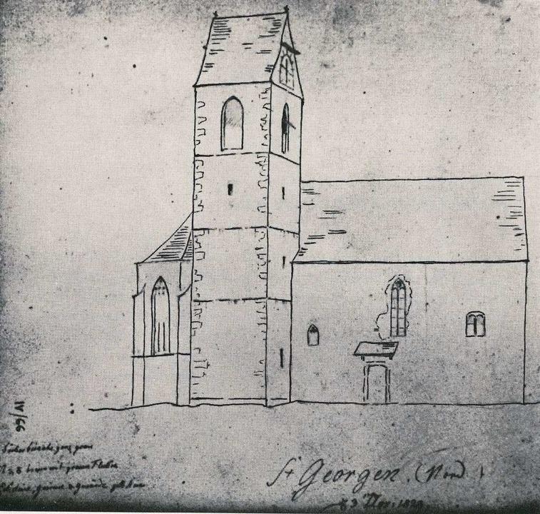 Eine 1829 entstandene Skizze zeigt die alte  Hardkirche.  | Foto: privat