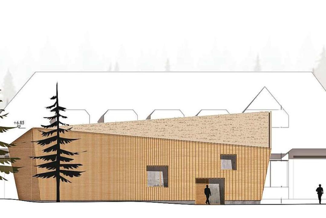 Der Entwurf für die neue Wache (in bra.... Dahinter in weiß das Feuerwehrhaus.   | Foto: Architekturbüro Sennrich und Schneider, Breisach