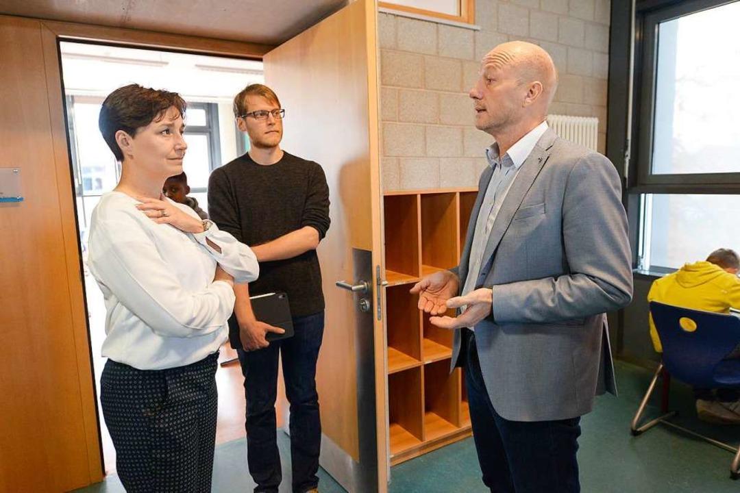 Grünen-Landesvorsitzende Sandra Detzer...homas Hartwich (rechts) Unterstützung.  | Foto: Ingo Schneider