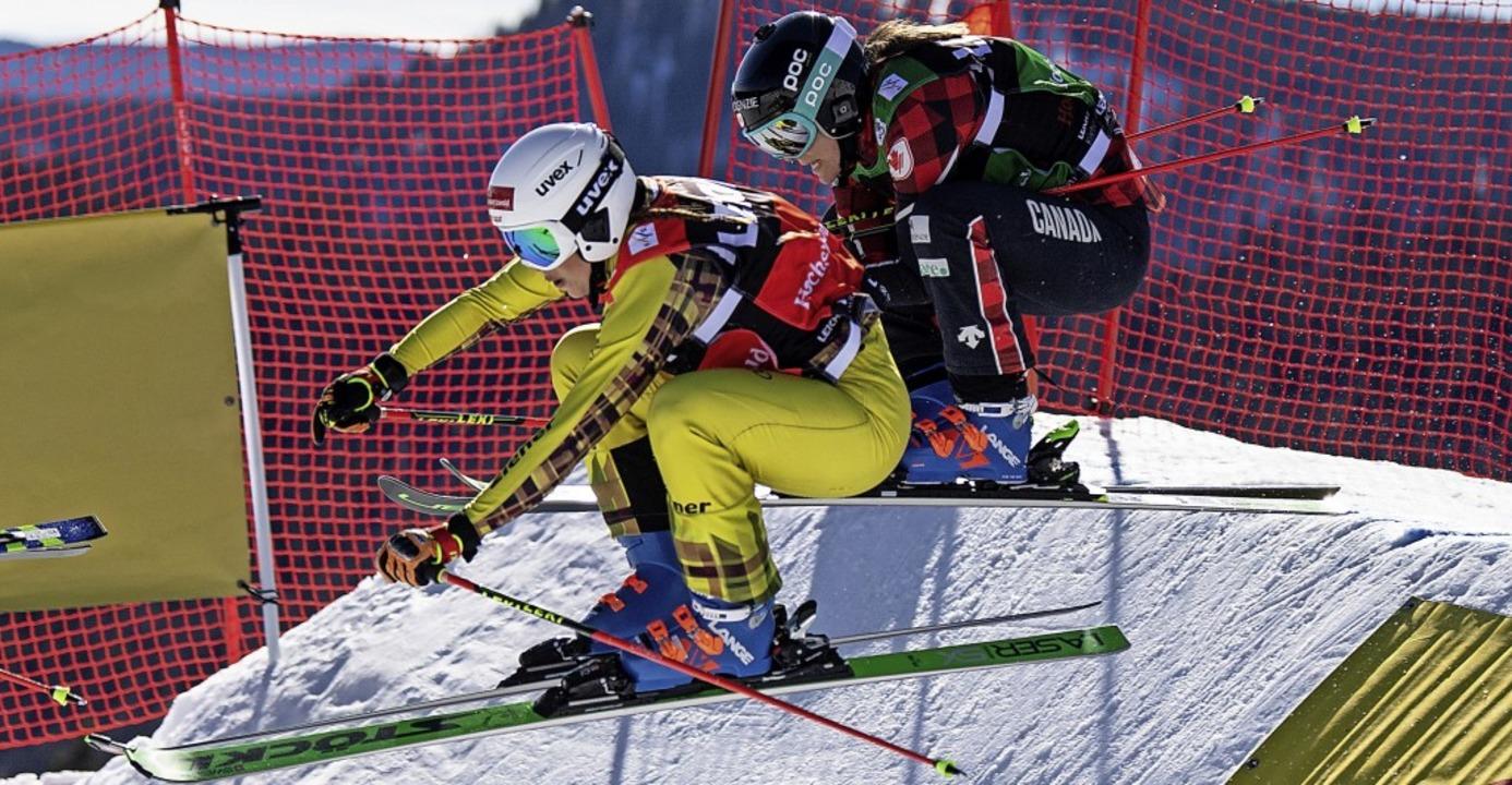 Dicht an dicht rasant bergab: Skicross...die Fahrt ins Halbfinale zuzutrauen.    | Foto: Patrick Seeger