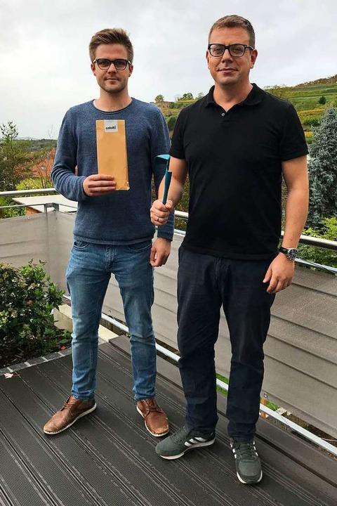 Johannes Wunderle (rechts) wollte unbe...egel (links) hilft ihm beim Marketing.  | Foto: Tamara Keller