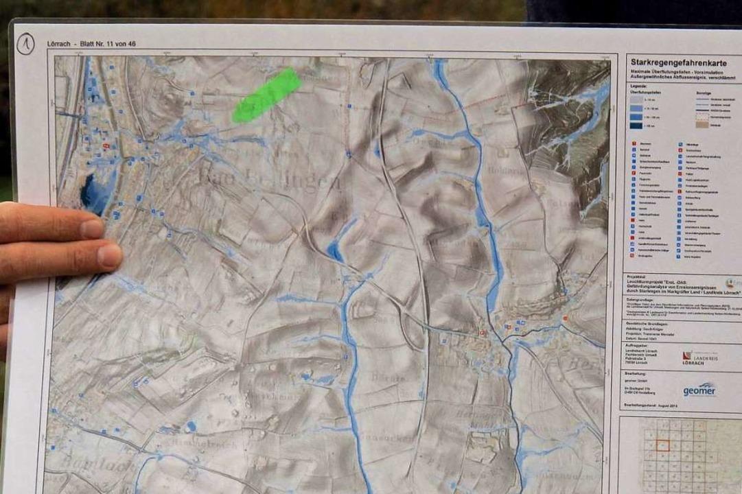 Eine Karte zeigt, wo Bad Bellinger Bäche nach Starkregen überfluten.  | Foto: Jutta Schütz