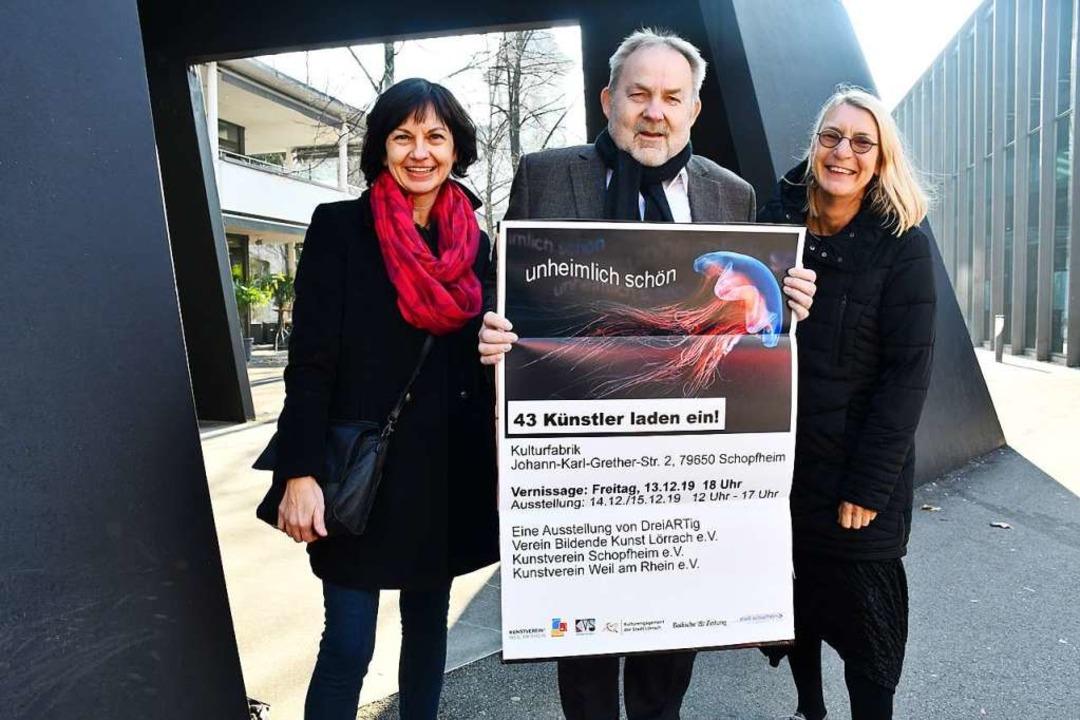 Freuen sich auf eine spannende Ausstel...in Bildende Kunst Lörrach (von links).  | Foto: Barbara Ruda
