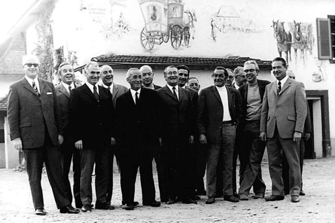 Der Haltinger Gemeinderat 1971: Gustav...Jürg Fels und Emil Wendle (von links).  | Foto: Stadtarchiv