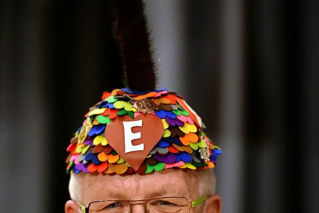 Die Ehrennarrenmütze – hier auf ...upt von Ministerpräsident Kretschmann.  | Foto: Patrick Seeger