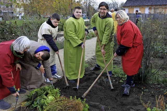 Schüler gärtnern am Streifenhaus