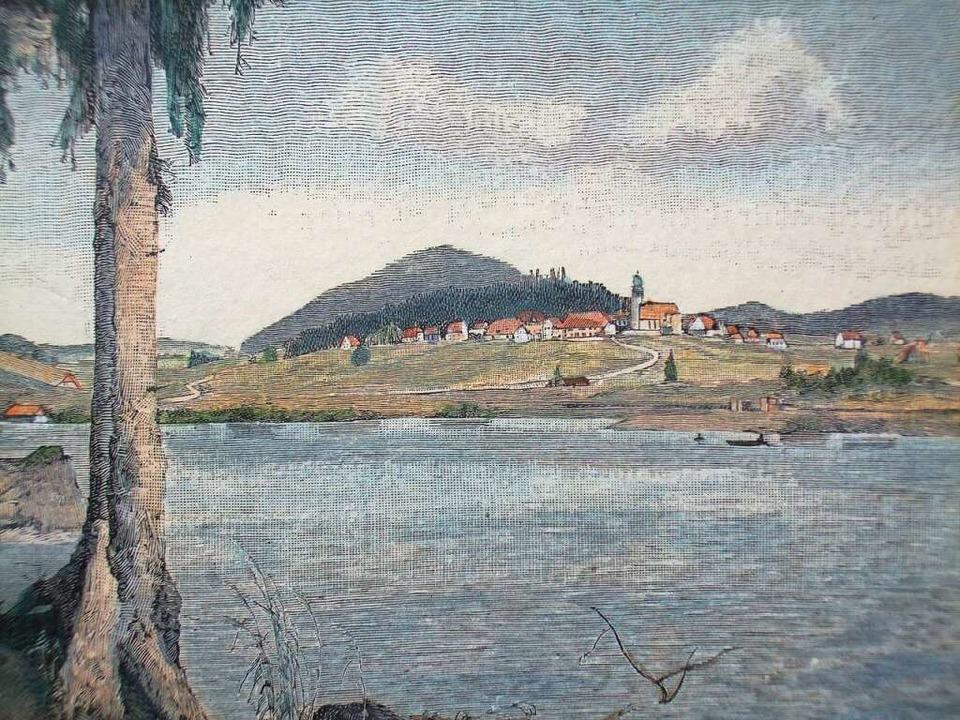 In den ersten Julitagen 1849 kehrte di...an den See zurück (Holzstich um 1880).    Foto: Friedbert Zapf