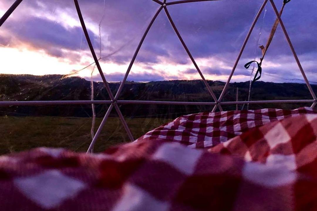 Im Bett liegen mit Aussicht.  | Foto: Maximilian Riedt (Der Balkenbettbauer)