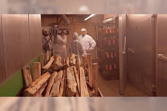 Dreharbeiten in Räucherkammer