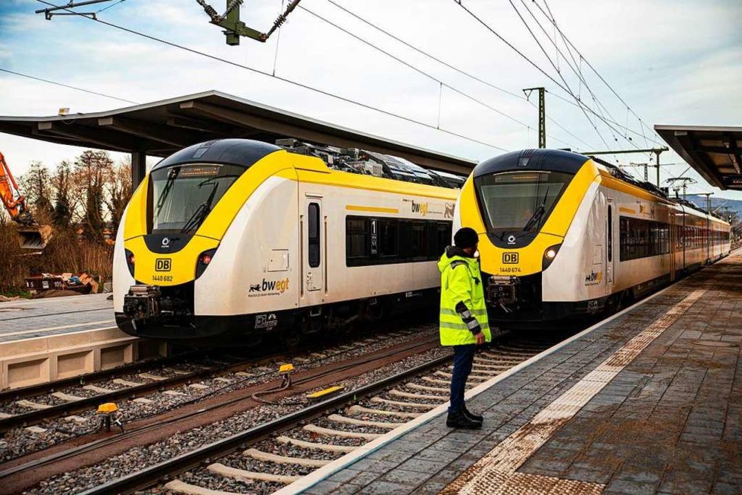 In Gottenheim standen am Montag die Züge – wenn überhaupt welche kamen.    Foto: Hubert Gemmert